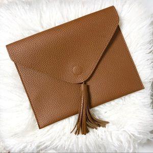 Faux Leather Tassel Envelope Clutch